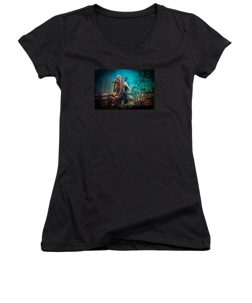 Women's V-Neck T-Shirt (Junior Cut) featuring the photograph Black Label Society by Stefan Nielsen