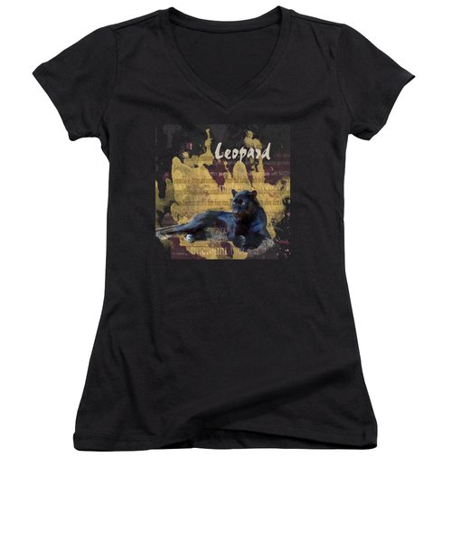 Black Leopard Women's V-Neck T-Shirt (Junior Cut) by Methune Hively