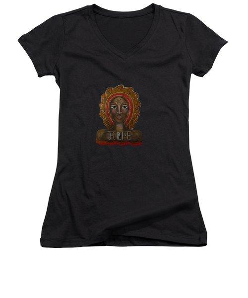 Black Madonna - Hope Women's V-Neck T-Shirt (Junior Cut) by Deborha Kerr
