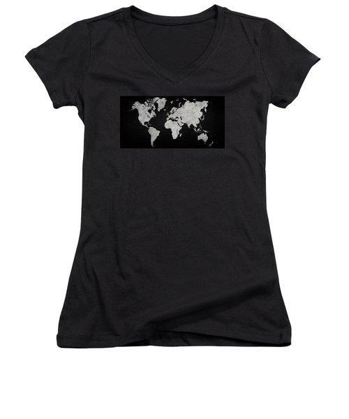 Black Metal Industrial World Map Women's V-Neck T-Shirt (Junior Cut) by Douglas Pittman