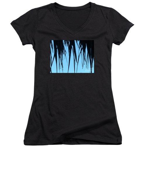 Black Palms On Blue Sky Women's V-Neck