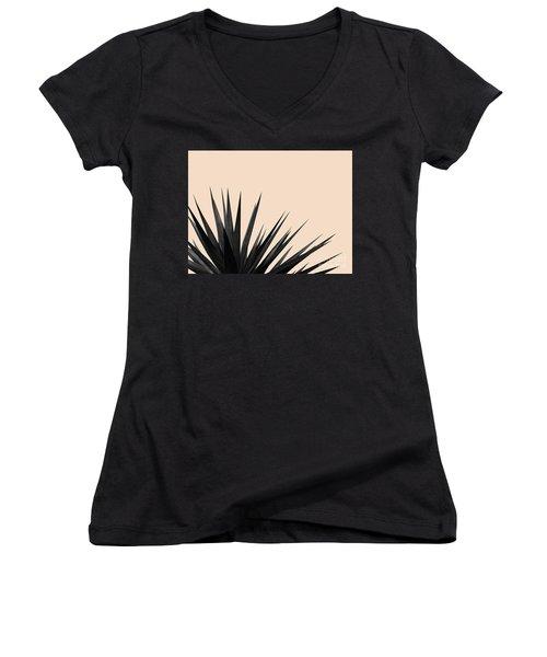 Black Palms On Pale Pink Women's V-Neck
