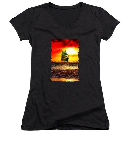 Black Pearl Women's V-Neck T-Shirt (Junior Cut) by Koko Priyanto