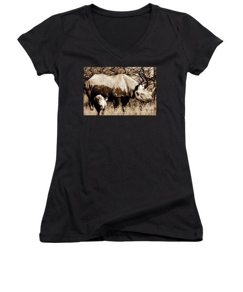 Black Rhino And Youngster Women's V-Neck (Athletic Fit)