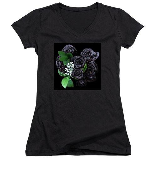 Black Roses Bouquet Women's V-Neck
