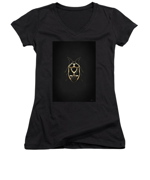 Black Shieldbug With Gold Accents  Women's V-Neck T-Shirt (Junior Cut) by Serge Averbukh