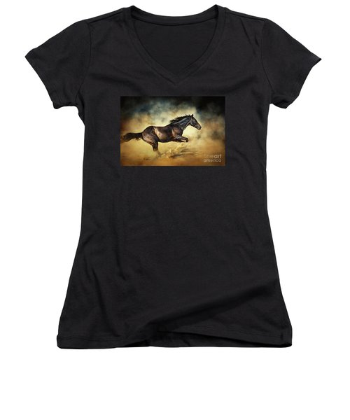 Black Stallion Horse Galloping Like A Devil Women's V-Neck (Athletic Fit)