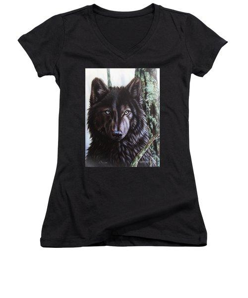 Black Wolf Women's V-Neck T-Shirt