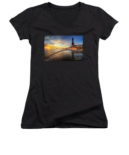 Women's V-Neck T-Shirt (Junior Cut) featuring the photograph Blackpool Sunset by Yhun Suarez