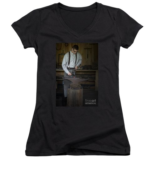 Blacksmith At Work Women's V-Neck T-Shirt (Junior Cut) by Liane Wright