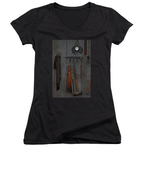 Women's V-Neck T-Shirt (Junior Cut) featuring the photograph Blacksmith Wall by Rowana Ray