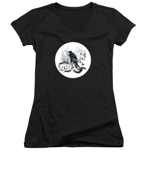 Blackwinged Birds Fly Past The Moonlit Raven's Eye Women's V-Neck (Athletic Fit)