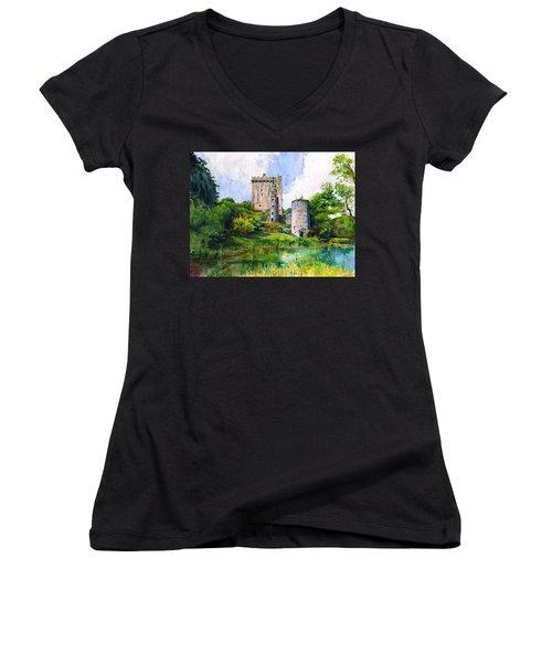Blarney Castle Landscape Women's V-Neck T-Shirt (Junior Cut) by John D Benson