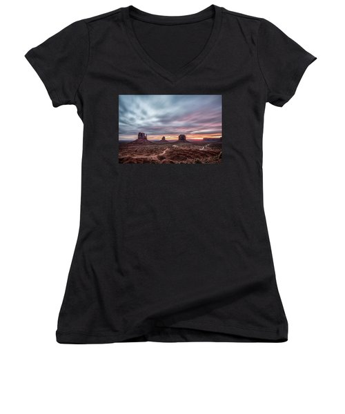 Blended Colors Over The Valley Women's V-Neck T-Shirt (Junior Cut) by Jon Glaser