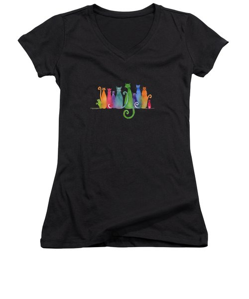 Blended Family Of Ten Women's V-Neck T-Shirt (Junior Cut) by Amy Kirkpatrick