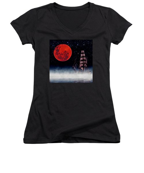 Blood Moon Women's V-Neck T-Shirt (Junior Cut) by Blair Stuart