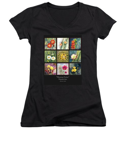 Women's V-Neck T-Shirt (Junior Cut) featuring the painting Blooming Cactus by Marilyn Smith