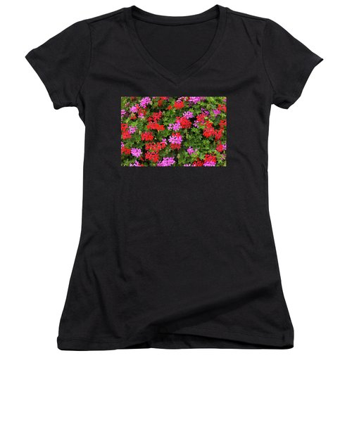 Women's V-Neck T-Shirt (Junior Cut) featuring the photograph Blooming Flowers Background by Hans Engbers
