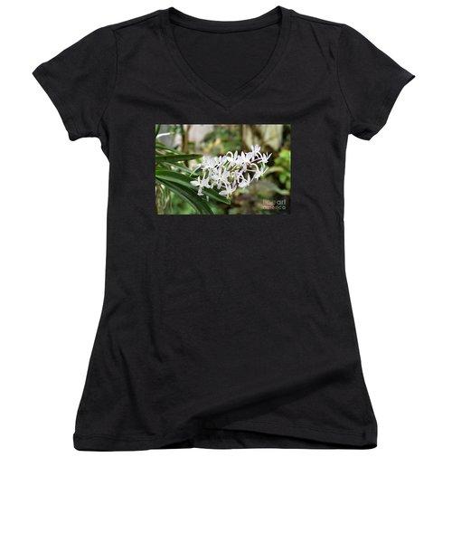 Blooming White Flower Spike Women's V-Neck