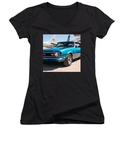 Blue 350 Chevy Camaro Ss Women's V-Neck