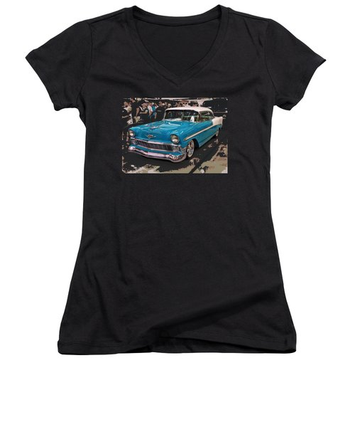 Women's V-Neck T-Shirt (Junior Cut) featuring the photograph Blue '56 by Victor Montgomery