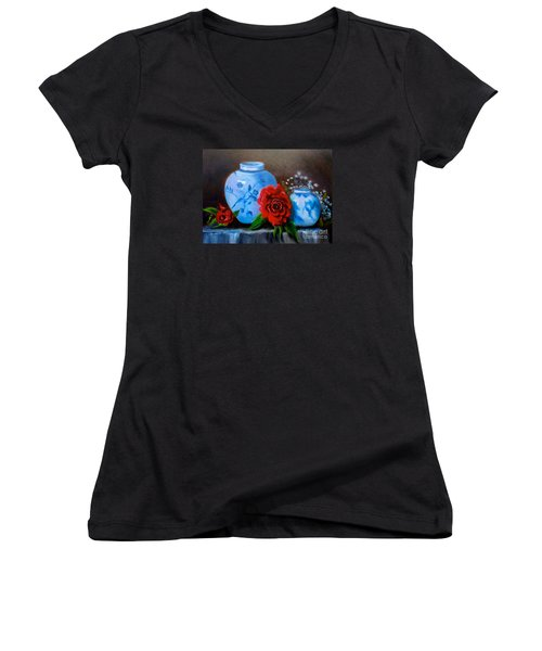 Women's V-Neck T-Shirt (Junior Cut) featuring the painting Blue And White Pottery And Red Roses by Jenny Lee