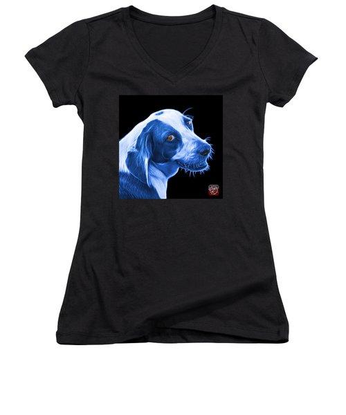 Blue Beagle Dog Art- 6896 - Bb Women's V-Neck T-Shirt
