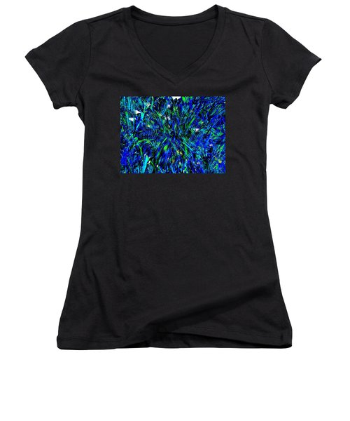 Blue Blades Of Grass Women's V-Neck (Athletic Fit)