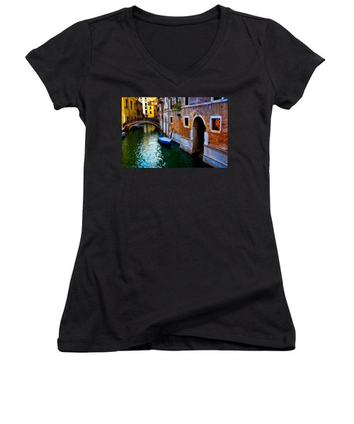 Blue Boat At Twilight Women's V-Neck T-Shirt (Junior Cut) by Harry Spitz