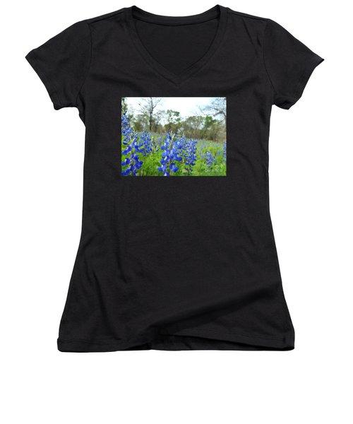 Blue Bonnet Explosion II Women's V-Neck T-Shirt