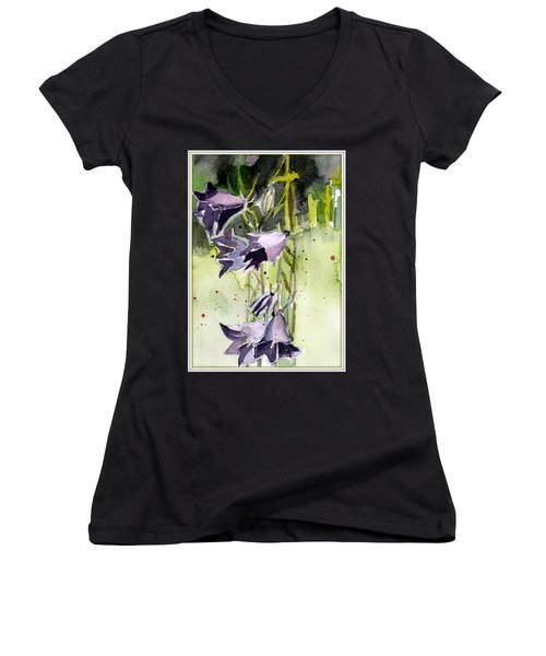 Blue Bonnets Women's V-Neck T-Shirt (Junior Cut) by Mindy Newman