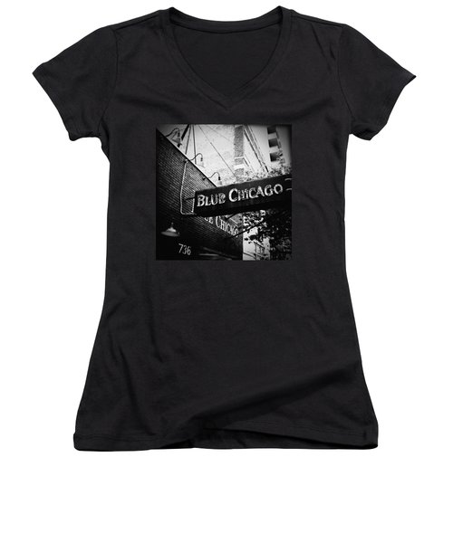 Blue Chicago Nightclub Women's V-Neck