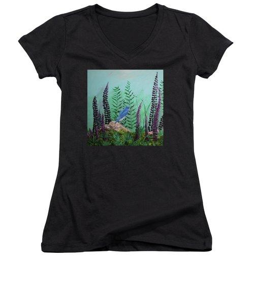Blue Chickadee Standing On A Rock 1 Women's V-Neck T-Shirt