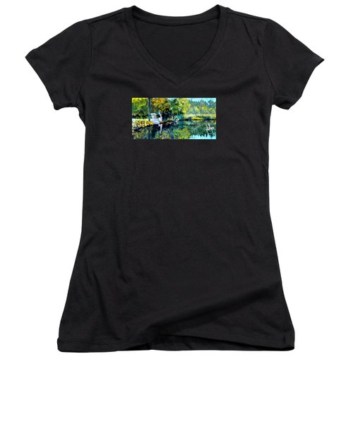 Women's V-Neck T-Shirt (Junior Cut) featuring the painting Blue Creek Fish Camp by Jim Phillips