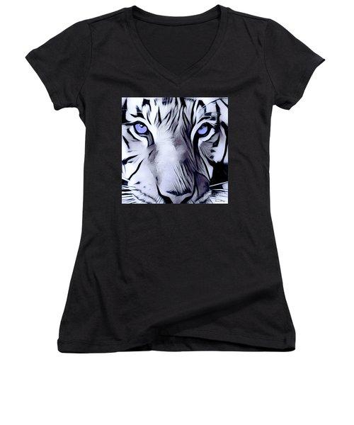 Blue Eyed Tiger Women's V-Neck