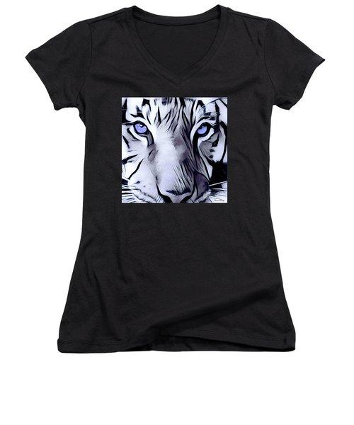 Blue Eyed Tiger Women's V-Neck T-Shirt