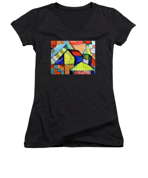 Women's V-Neck T-Shirt (Junior Cut) featuring the painting Blue Fin's Fresh Seafood by Susan Stone