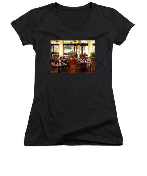 Blue Glass Settings Women's V-Neck T-Shirt