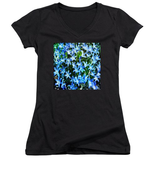 Blue Glory Snow Flowers  Women's V-Neck (Athletic Fit)