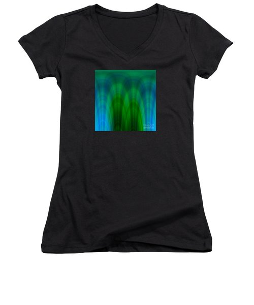 Blue Green Plaid Arches Women's V-Neck T-Shirt