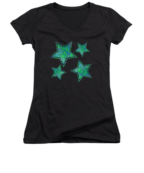 Blue Green Splatter Women's V-Neck