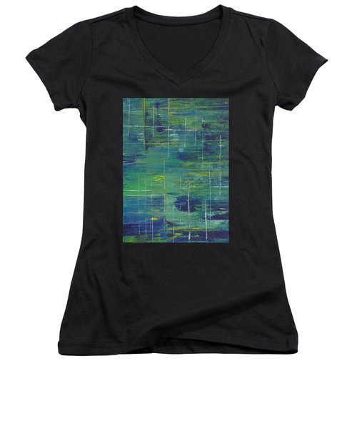 Blue Green Yellow Abstract  Women's V-Neck T-Shirt (Junior Cut) by Patricia Cleasby