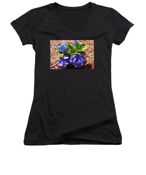 Women's V-Neck T-Shirt (Junior Cut) featuring the digital art Blue Heaven by Barbara S Nickerson