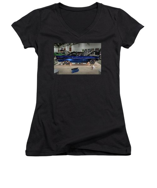 Women's V-Neck T-Shirt (Junior Cut) featuring the photograph Blue Heaven by Randy Scherkenbach