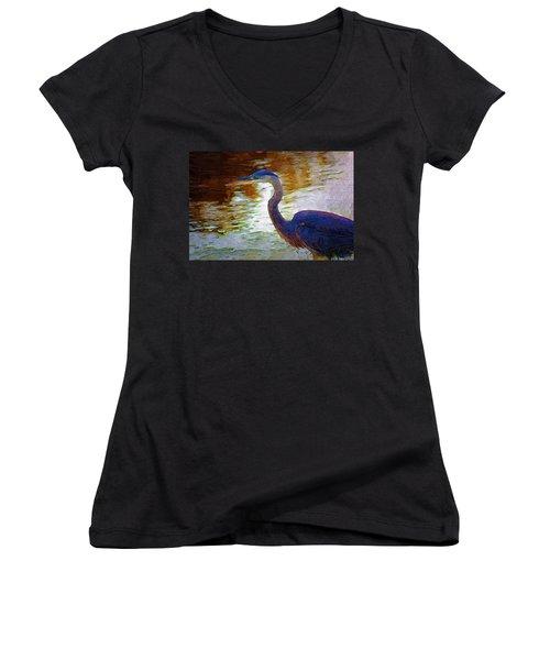 Women's V-Neck T-Shirt (Junior Cut) featuring the photograph Blue Heron 2 by Donna Bentley