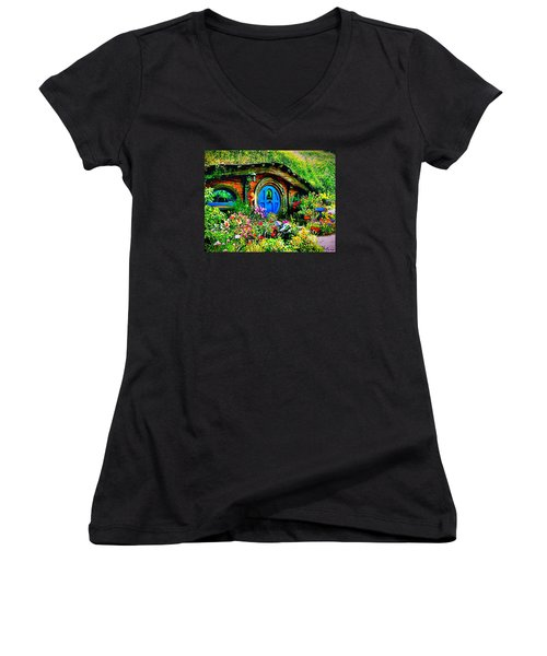 Blue Hobbit Door Women's V-Neck T-Shirt (Junior Cut) by Kathy Kelly