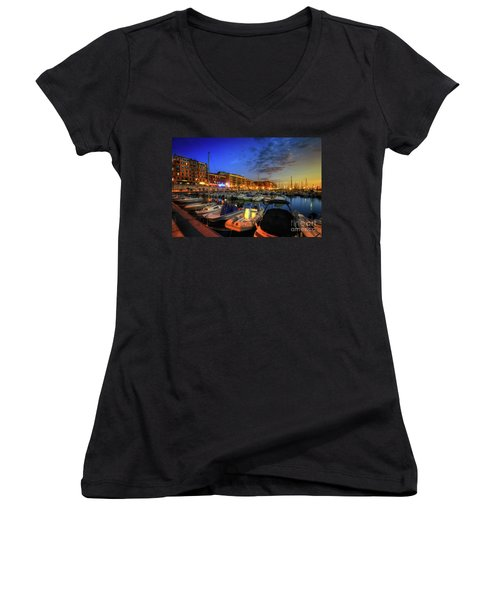 Women's V-Neck T-Shirt (Junior Cut) featuring the photograph Blue Hour At Port Nice 1.0 by Yhun Suarez
