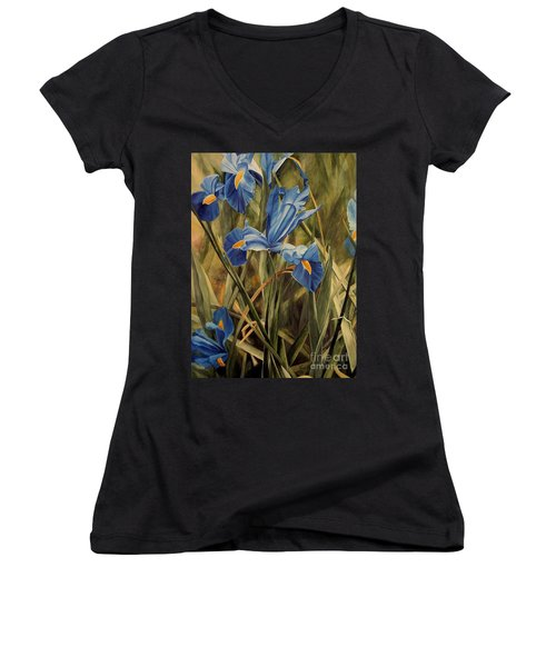 Blue Iris Women's V-Neck T-Shirt (Junior Cut) by Laurie Rohner