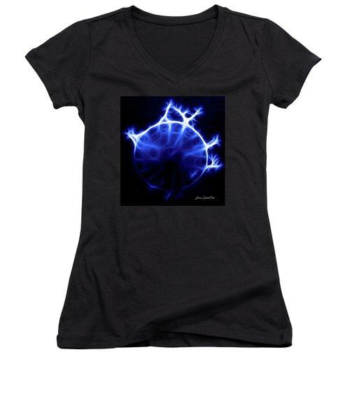 Blue Jelly Fish Women's V-Neck T-Shirt (Junior Cut) by Joann Copeland-Paul