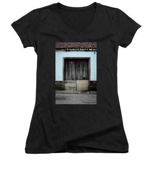 Women's V-Neck T-Shirt (Junior Cut) featuring the photograph Blue Mailbox by Marco Oliveira